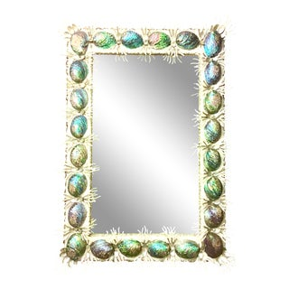 21st Century Contemporary Abalone Shell and Spider Coral Mirror For Sale