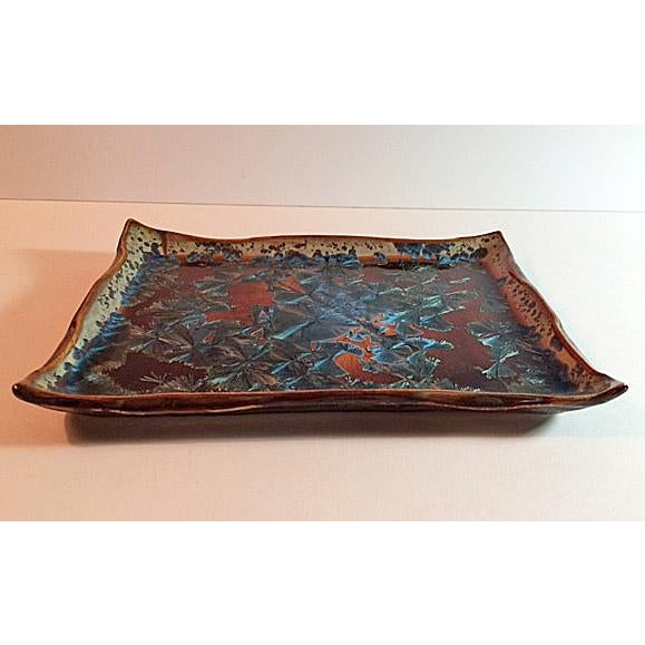 Boho Chic Hong Rubinstein Macro Crystalline Glazed Plate/Tray For Sale - Image 3 of 5