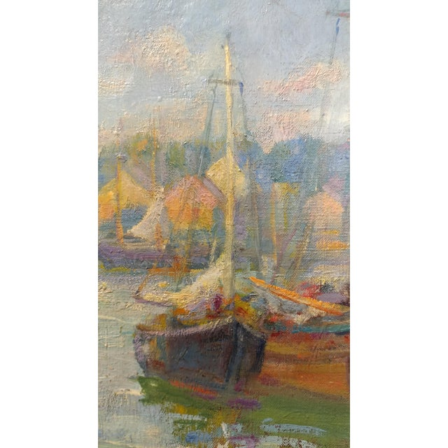 Frederick Carl Smith -Boats in the Port -Impressionist Oil painting c1930s Oil painting on Canvas -Signed - Image 7 of 10