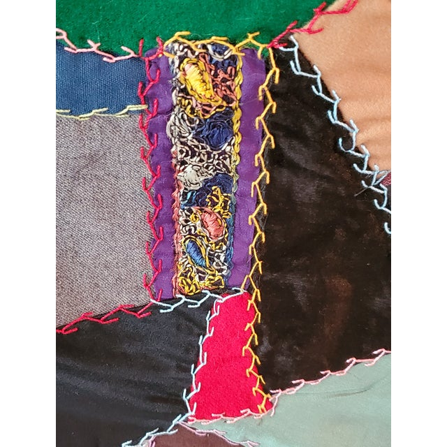Light Gray Antique American Crazy Quilt, Patchwork of Geometric Colors For Sale - Image 8 of 11