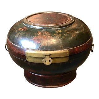 Early 19th Century Antique Chinese Painted Wood Wedding Cake Box For Sale