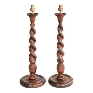 Tall English Barley Twist Oak and Brass Candlesticks - a Pair For Sale