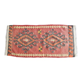 1960s Vintage Organic Design Aztec Turkish Handmade Area Kilim Rug 1′7″ × 3′4″ For Sale