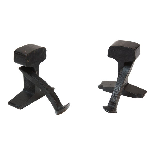 1950s Industrial Black Iron Railroad Tie Bookends For Sale