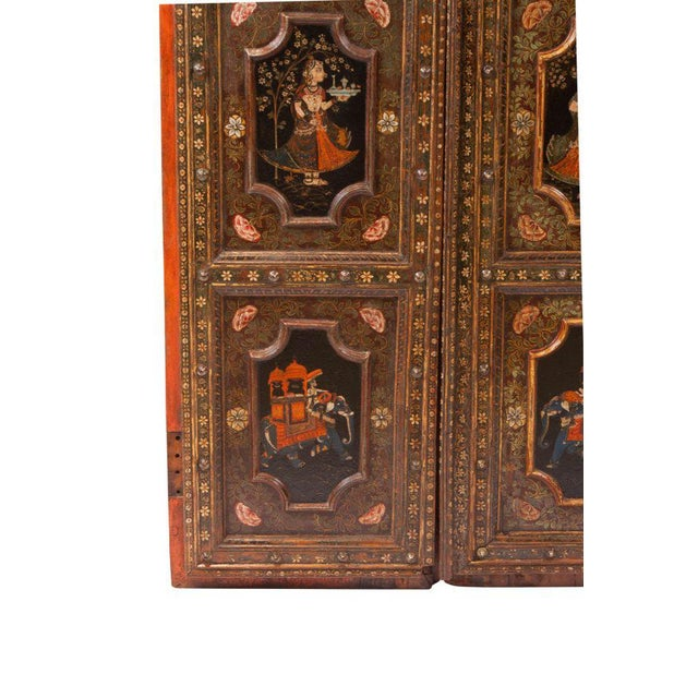 1830s Painted Indian Palace Doors - a Pair For Sale - Image 4 of 8