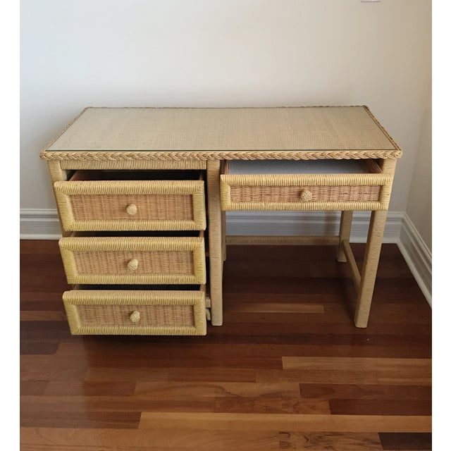 Vintage Henry Link boho wicker glass topped four drawer desk. In absolutely pristine condition. Original glass top...
