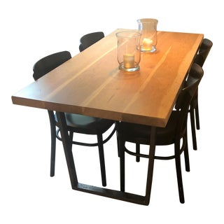 Hand Crafted Mid-Century Solid Cherry Dining Table For Sale