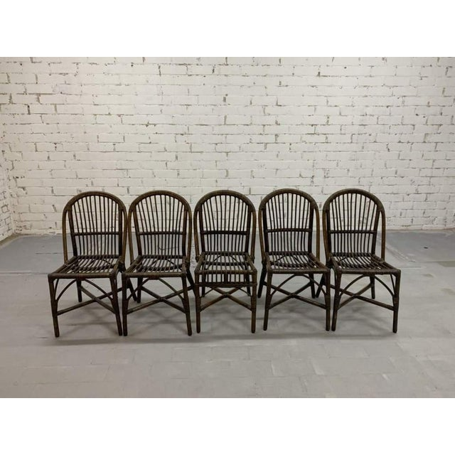 Blue Set of 5 Italian Vintage Bamboo Patio Dining Chairs For Sale - Image 8 of 11