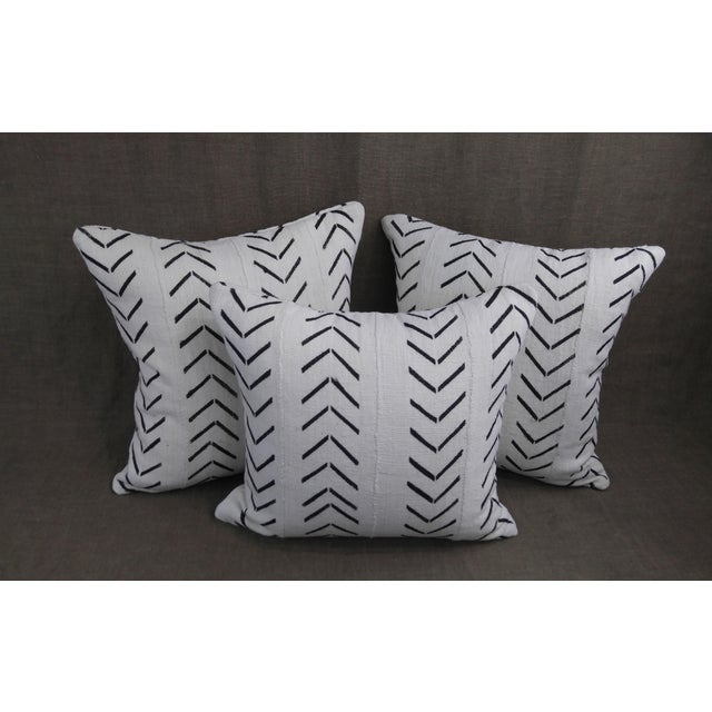 """Vintage Authentic """"Mudcloth"""" White With Black Design Pillows - Set of 3 For Sale In Los Angeles - Image 6 of 6"""