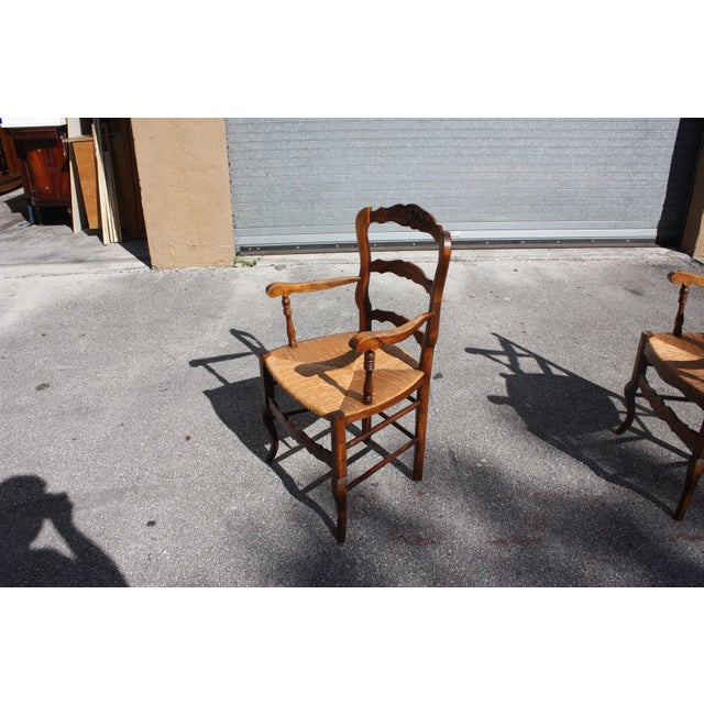 Early 20th Century French Country Rush Seat Solid Walnut Berger Chairs- a Pair For Sale - Image 10 of 13