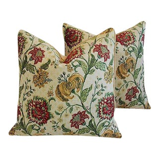 "Custom Scalamandre Floral Brocade Feather/Down Pillows 24"" Square - Pair For Sale"