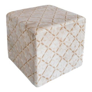 Ella Cream Patterned Cube Cushioned Stool For Sale