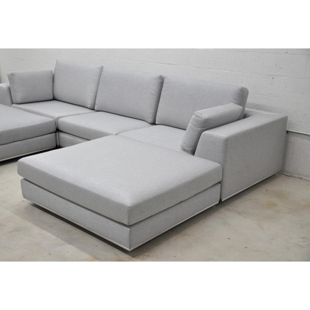 Contemporary Contemporary Gray Modular Sectional Sofa and Ottoman For Sale - Image 3 of 13