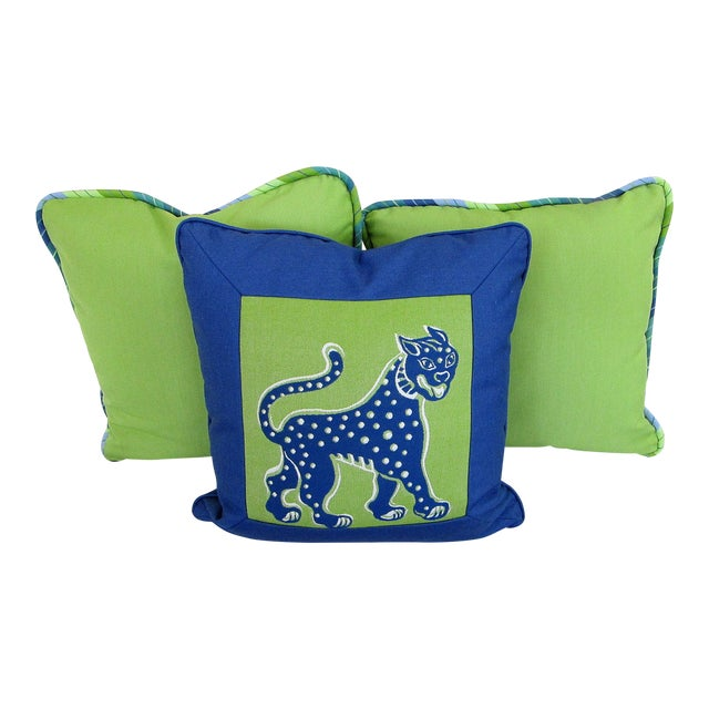 Custom Made Lime and Periwinkle Pillows - Set of 3 For Sale