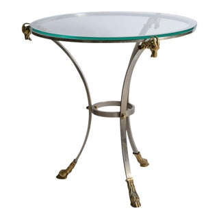 Directoire Style Brushed Steel & Brass Ram Heads With Glass Top Gueridon For Sale