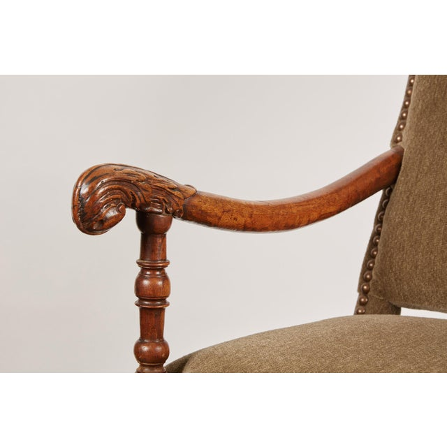 17th Century Louis XIII French Walnut Armchair with Upholstery For Sale - Image 9 of 11