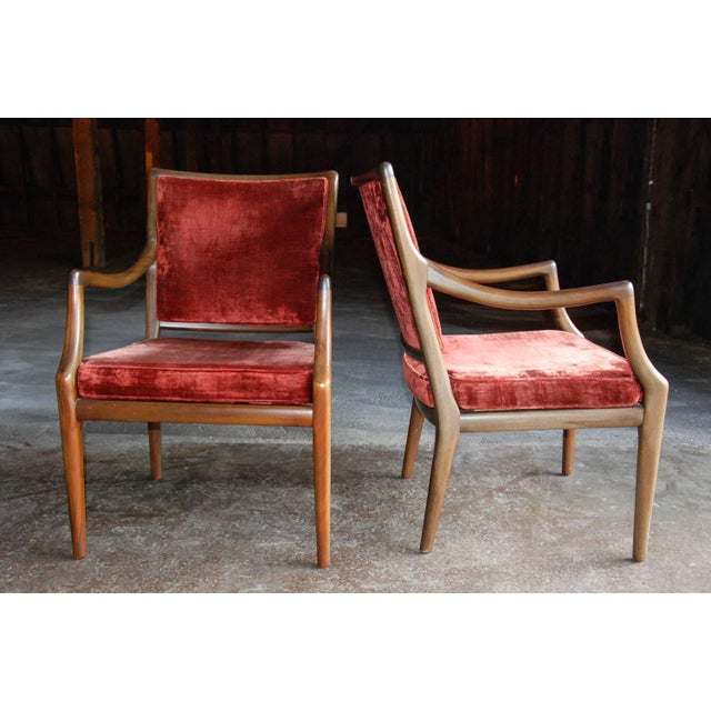 Black Circa 1960 Style of T.H. Robsjohn-Gibbings Mid-Century Modern Upholstered Armchairs - A Pair For Sale - Image 8 of 8
