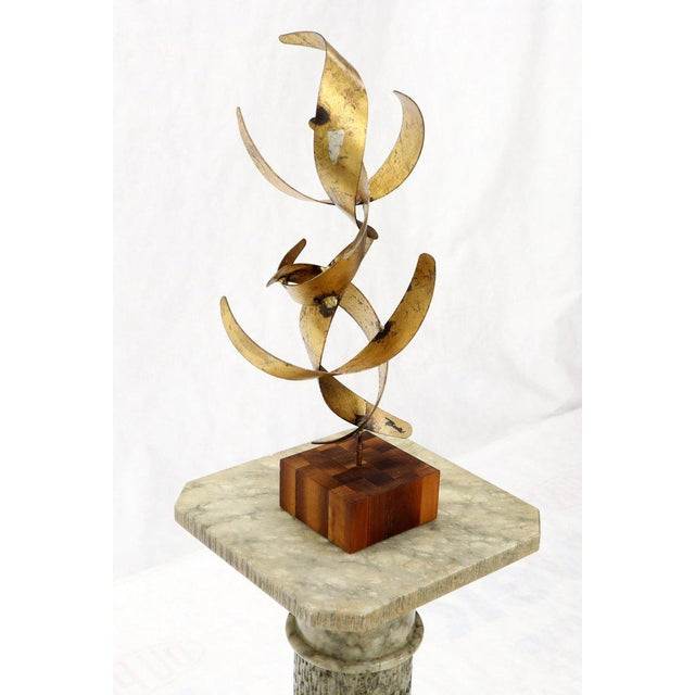 William Bowie Table Top Metal Gold Leaf Sculpture Solid Wood Block Base For Sale - Image 12 of 13