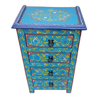 Moroccan Hand Painted Teal Wooden Nightstand For Sale