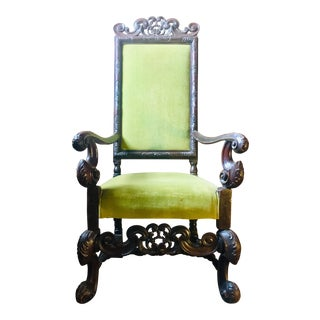 Late 19th Century Walnut Louis XIII Style Lime Armchair For Sale