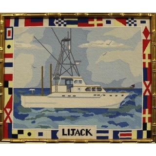 """Lijack"" Fishing Yacht Needlepoint in Gilt Bamboo Frame For Sale"