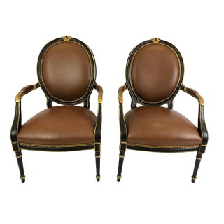 Pair of Supple Brown Leather and Ebonized Gilded Armchairs For Sale