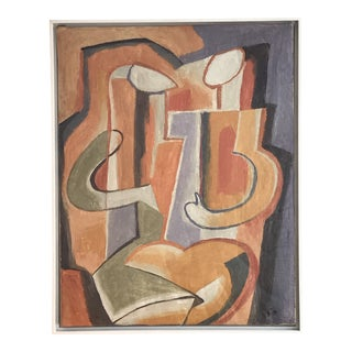 "20th Century Abstract ""Two Figures"" Oil on Canvas Painting by Maurice Cloud For Sale"