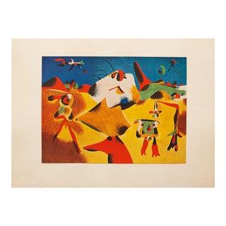 """1947 Juan Miro Original """"Personnages, Montagnes, Ciel, Etoile, Oiseau"""" Lithograph For Sale"""