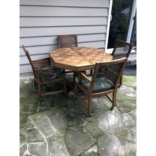 1980s Traditional Cane Back Upholstered Chairs and Table - 5 Pieces Preview