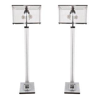 "Mid 20th Century Charles Hollis Jones ""Edison"" Floor Lamps in Lucite and Polished Nickel - a Pair For Sale"