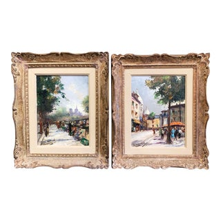 French Oil on Canvas Paris Paintings in Carved Frames Signed M. Abougit - a Pair For Sale