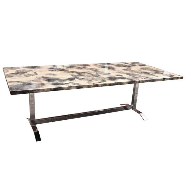 Parchment and Resin Dining Table with Stainless Steel Base For Sale - Image 9 of 9