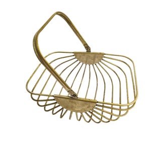 Vintage Heavy Metal Wire Basket For Sale