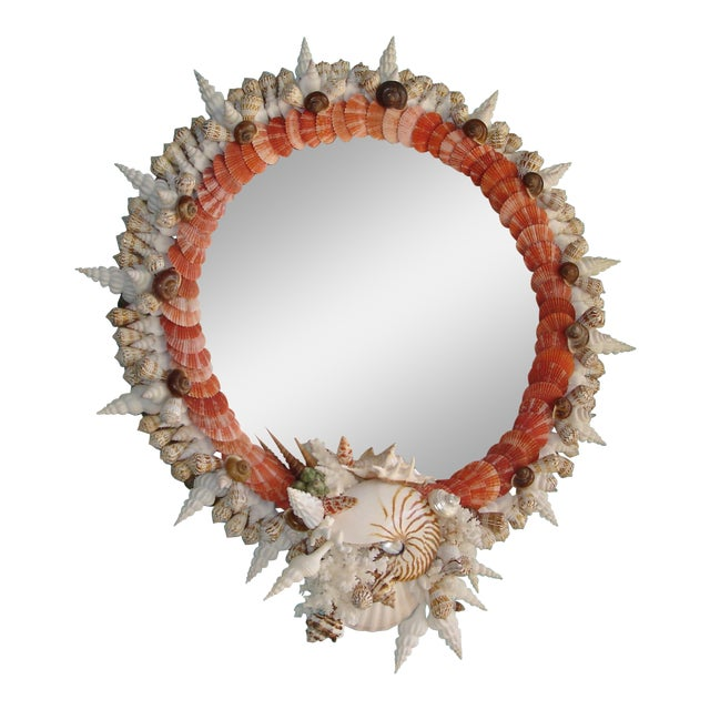Red Pectin Shell Wreath Round Wall Mirror For Sale