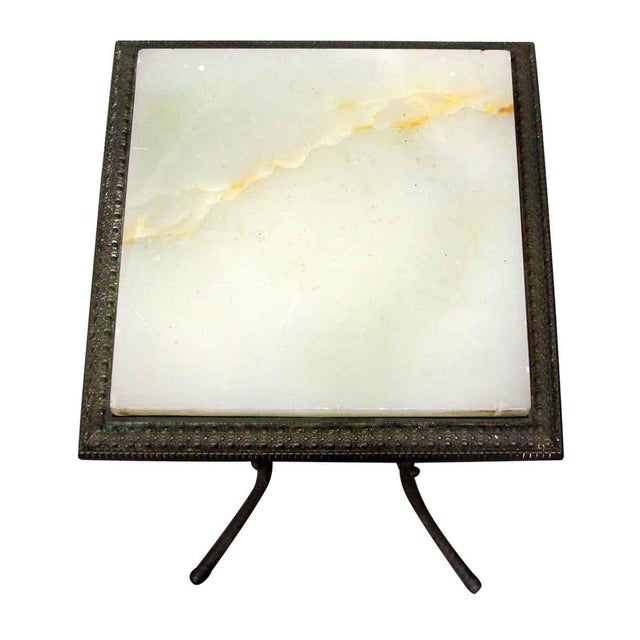 Late 20th Century 20th Century Traditional Marble Top Side Console Table With Small Glass Shelf For Sale - Image 5 of 10