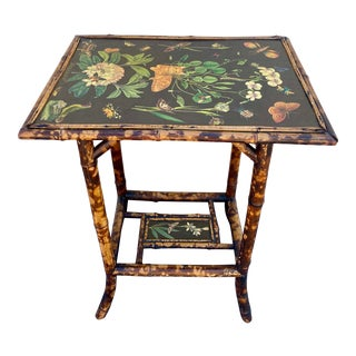 Late 19th Century English Bamboo Wood 2-Tier Decoupage Cat and Butterflies Table For Sale
