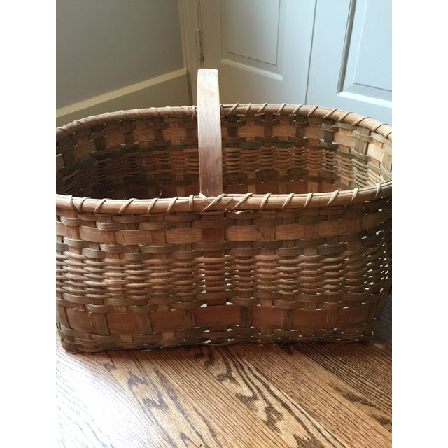 Antique Wicker Basket with Handle For Sale - Image 9 of 11