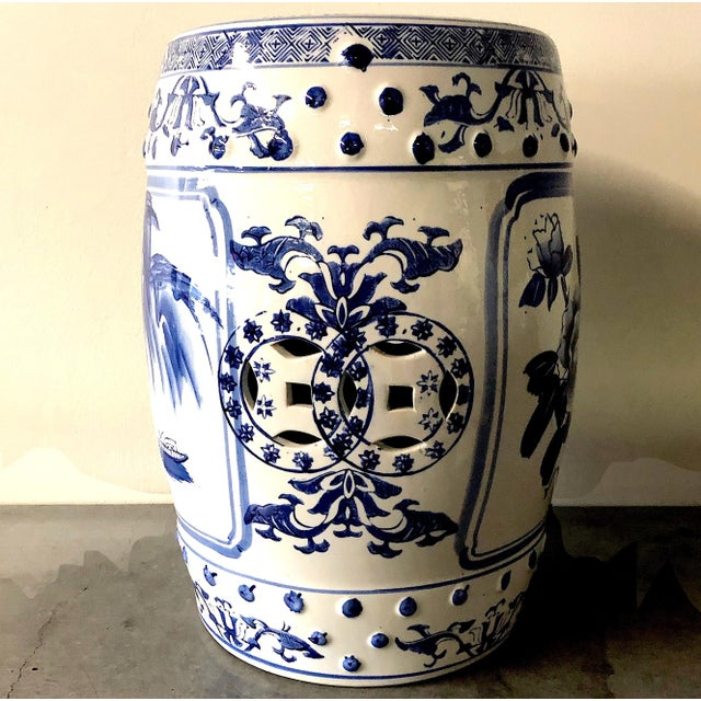Late 20th Century Chinese Blue/White Porcelain Garden Stool For Sale - Image 5 of 10