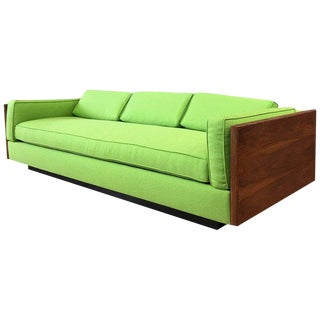 Vintage Milo Baughman-Style Expansive Walnut Case Sofa For Sale