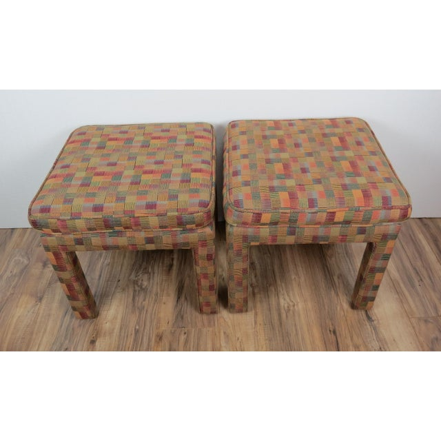 A pair of 1980's parson stools with multicolor fabric. Very cool post-mod accents! Proudly Made in the USA Brought to you...