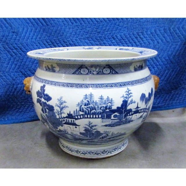 Vintage Asian Blue and White Urn Pot With Applied Face Handles For Sale - Image 9 of 9