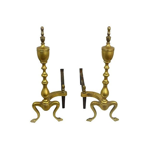 Brass Andirons - A Pair - Image 1 of 6