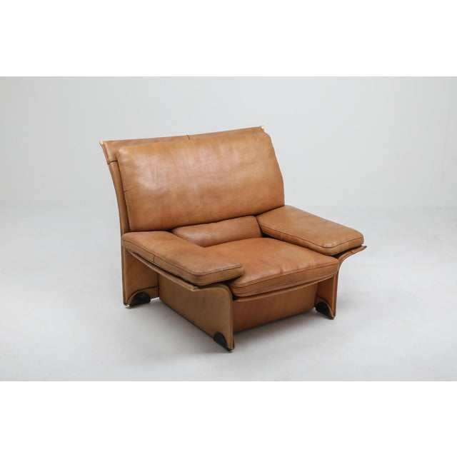Thick Camel Leather Club Chairs by Titiana Ammanati & Giampiero Vitelli for Brunati - 1970s For Sale - Image 6 of 12