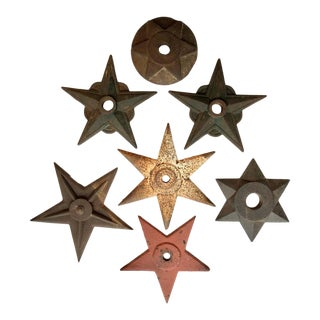 Antique Cast Iron Architectural Building Star Shaped Support Collection '7' For Sale