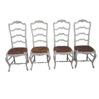Antique French Ladder Back Rush Seat Chairs Set of 4 French Shabby Cottage Paris Apartment Dining Chairs For Sale