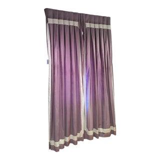White Trim Purple Bedroom Drapes - Set of 4