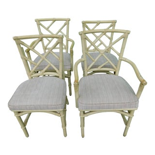 Vintage Ficks Reed Rattan Chippendale Chairs - Set of 4 For Sale
