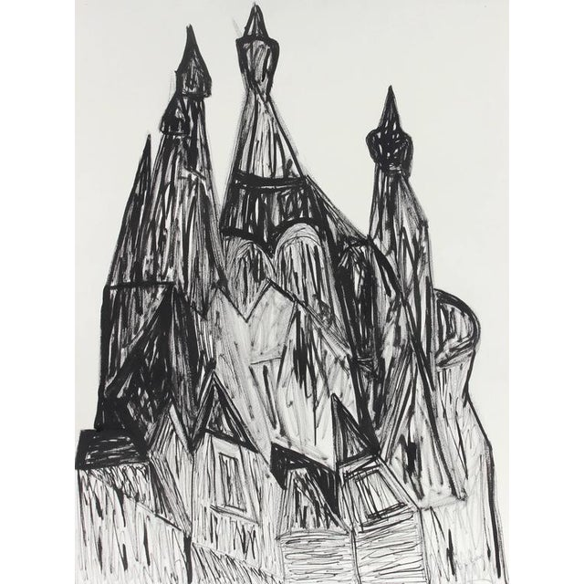 """This late 20th century ink and charcoal on paper Cubist cityscape entitled """"Russian Churches in St. Petersburg"""" is by..."""