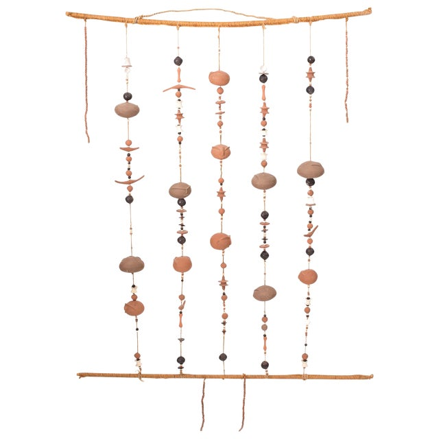 Phenomenal Ceramic and Rope Wall Sculpture For Sale