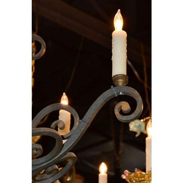 French Patinated Iron Chandelier For Sale - Image 4 of 7